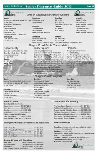 New! Oregon Senior News Resource Guide 2015.